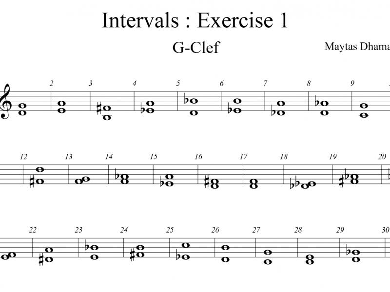 แบบฝึกหัด Intervals : EX1 กุญแจโซ (80 ข้อ)