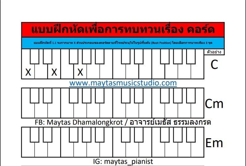 แบบฝึกหัดทบทวนเรื่องคอร์ด Major-Minor (Root Position) แบบฝึกหัดที่ 1.1 ถึง 1.10